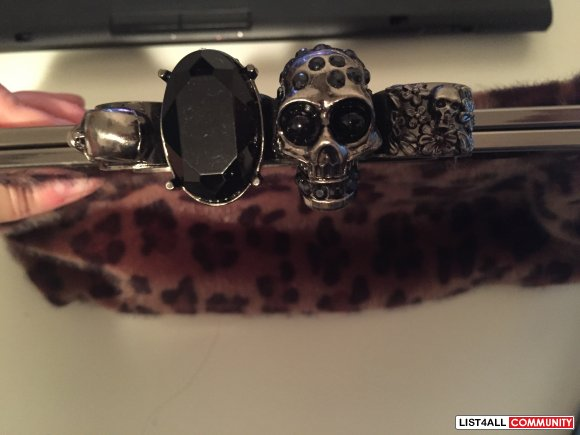 Faux Fur Leopard Print Skull & Gem Embellished Knuckle Clutch/Purse