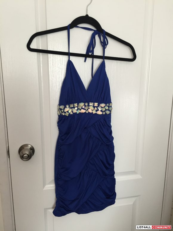 Blue Halter Dress with Embelishment Size S-M