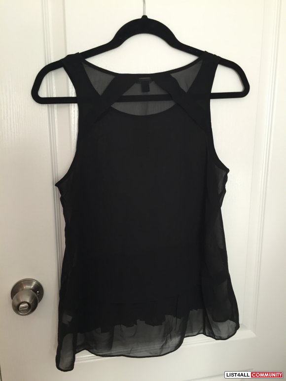 American Eagle Sheer Black Sleeveless Top Size Small