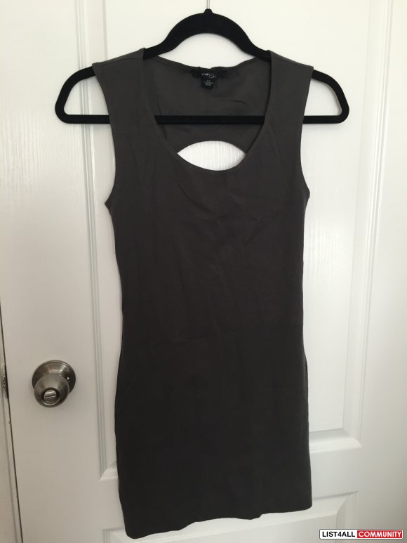 Forever 21 Grey Bodycon Cutout Dress Size Small