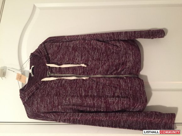 NWT American Eagle Full Zip Hoodie Size XS in Maple