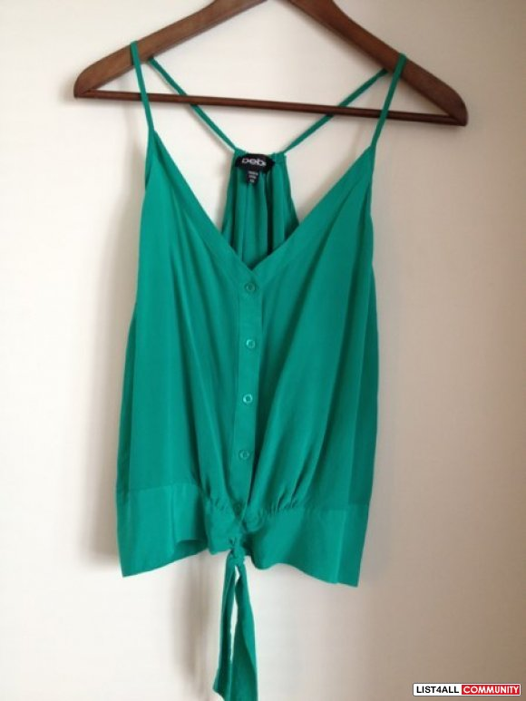 Bebe forest green silk top. Size: xs