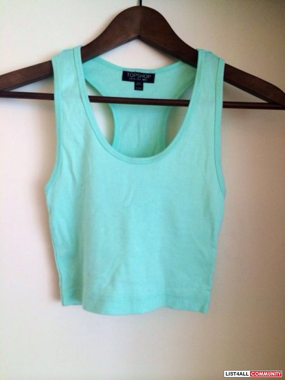 TOPSHOT- cropped mint cotton top