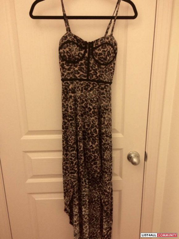 Leopard print short/long summer dress XXS-XS