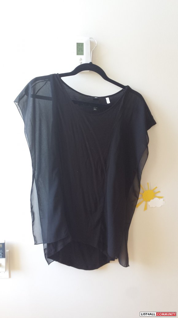 BNWT - H&M Black Top with Chiffon Sleeves
