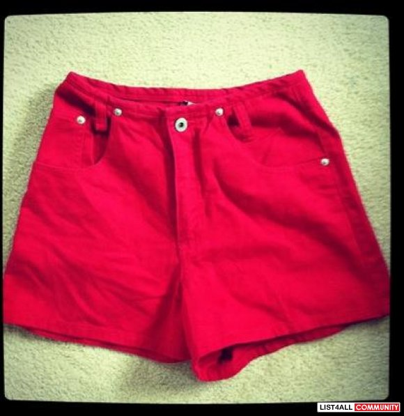 Red high waist shorts (size m)