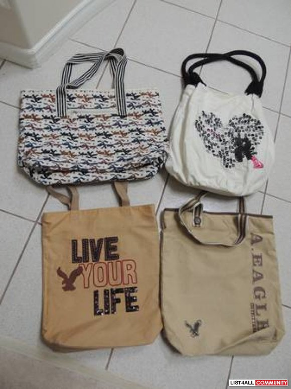 Book bags/ Beach bags (American Eagle, Roxy, and Dog Patterned)