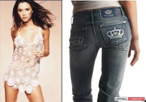 Victoria Beckam ~ Denim Crops Light Blue with sparkly studs