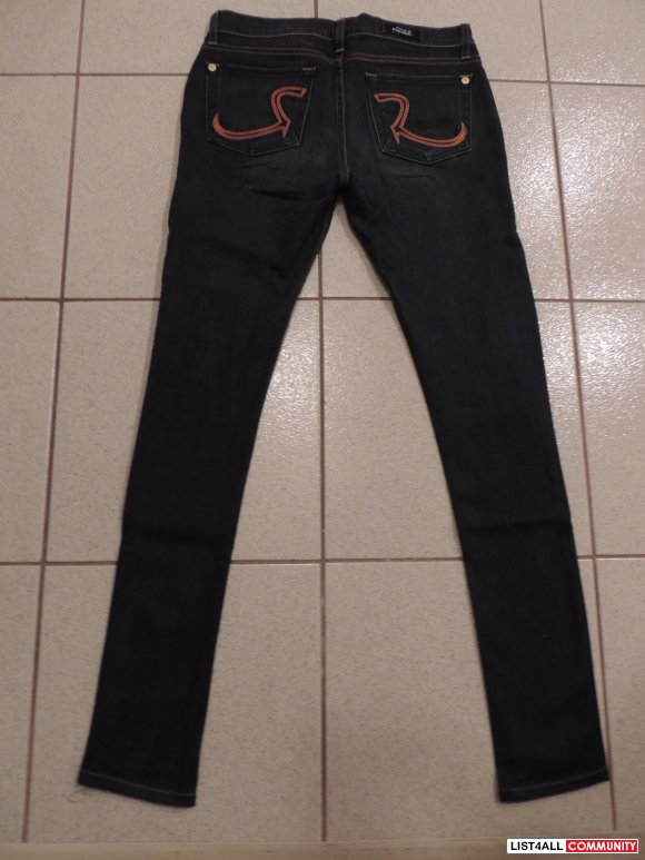 Rock and Republic~ Skinny Dark Denim with Orange Stitching