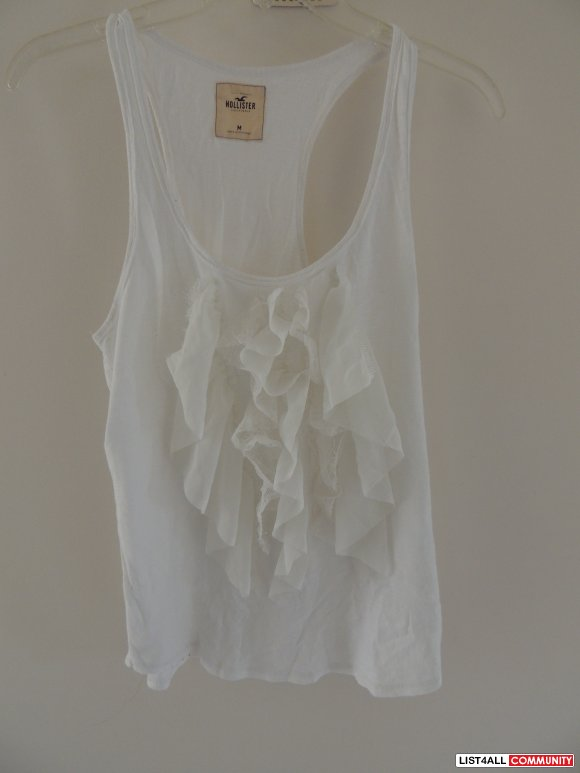 Hollister white lace tank