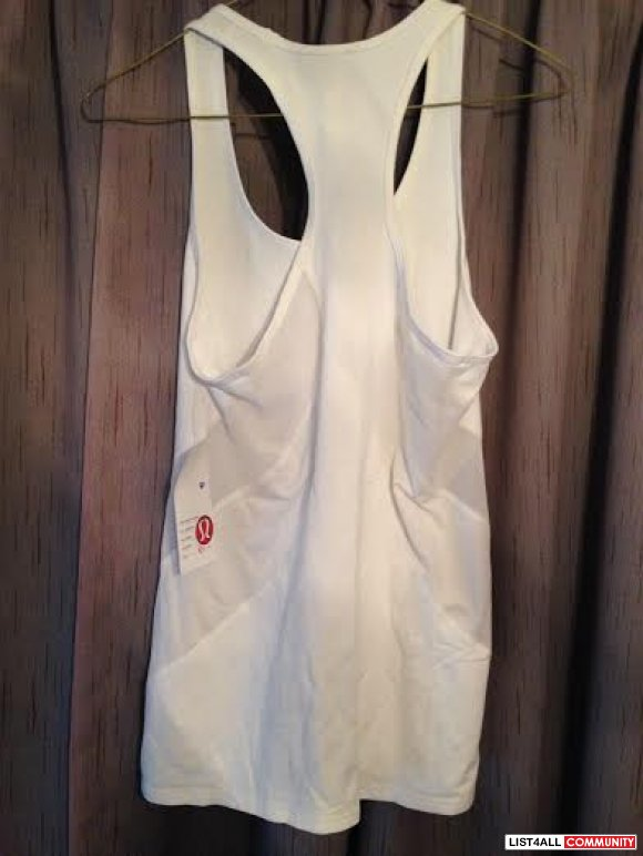 BNWT Lululemon White Racer back mesh tank top