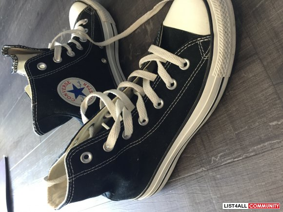 Black converse high-tops size 8