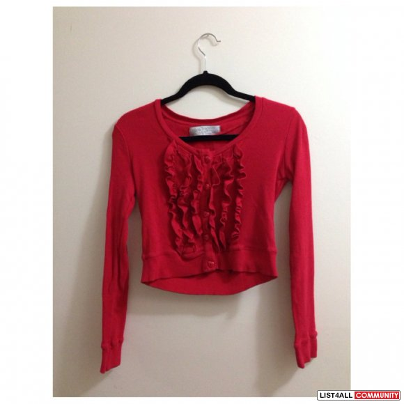 ZARA Long Sleeve Crop Top in Red