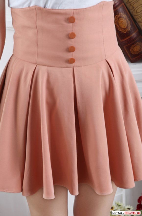 High Waisted Retro Pleated Skirt Pink