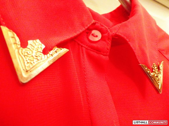 Red High Low Dress Shirt w/ Gold Collar Tips (NOW $20)
