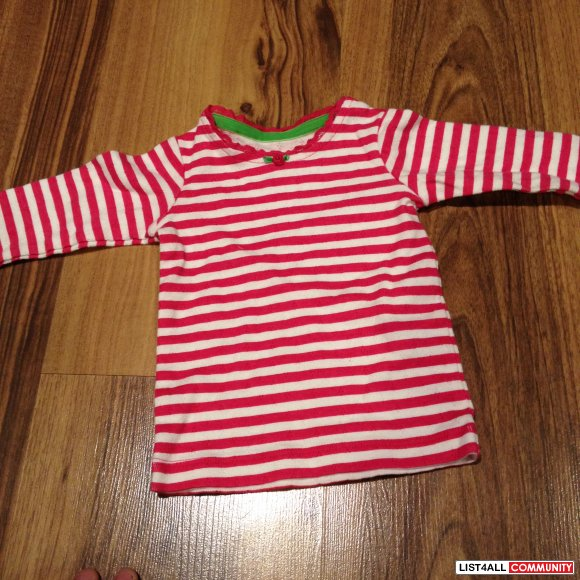 carters long sleeve pink and white stripe size 3 month