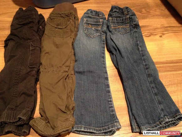2 old navy jeans, 1 h and m pant, 1 american eagle kids pant