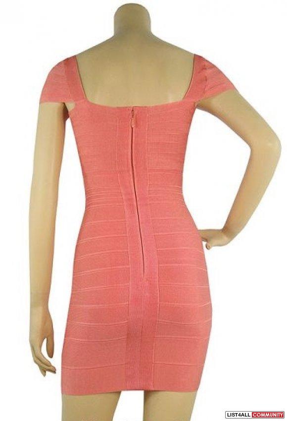 e538d5898fc0 ... Herve Leger Coral Capsleeve Bandage Dress S Bebe Marciano bcbg ...