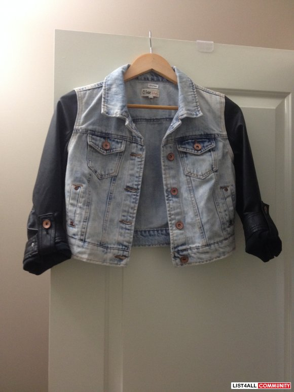 Denim & Faux Leather Crop Jacket