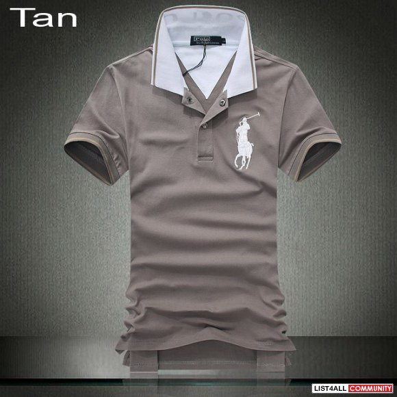 Ralph Lauren Men Contrasting Stripes Collar Big Pony Polo Sale