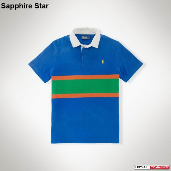 Ralph Lauren Men Custom-Fit Striped Rugby Polo Mutil UK
