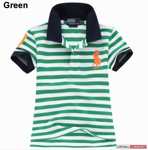 Ralph Lauren Kids Cotton Big Pony Stripe Short Sleeve Polo Outlet Sale