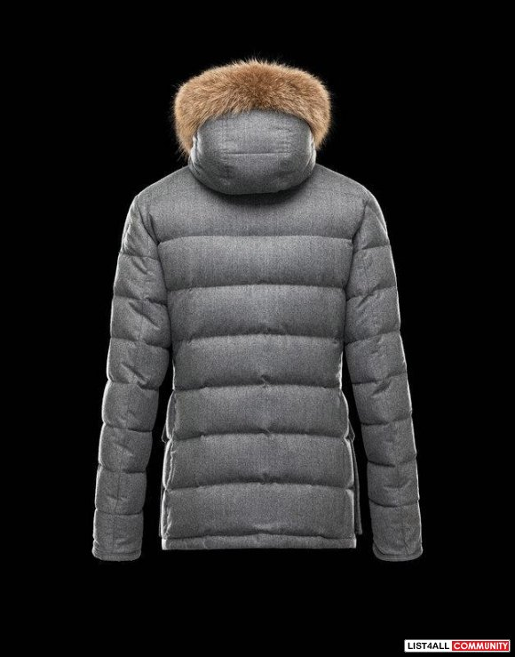 Moncler Rethel Men Wool Flannel & Nylon Hood With Fur Jacket Gray Sale