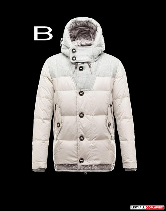 Moncler Pyrenees Men Technical Fabric Flannel Insets Coat Cheap