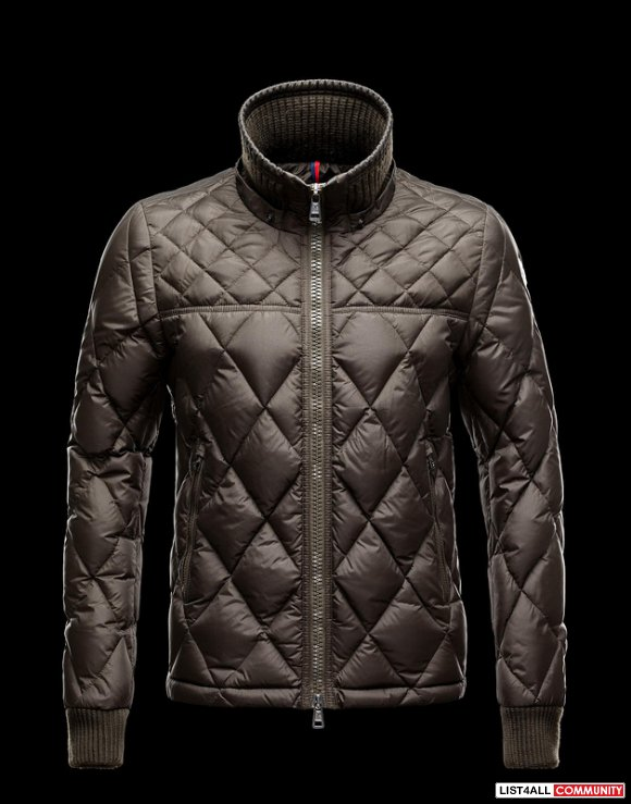 Moncler Girardot Men Vintage-Effect Nylon Lozenge Quilted Jacket