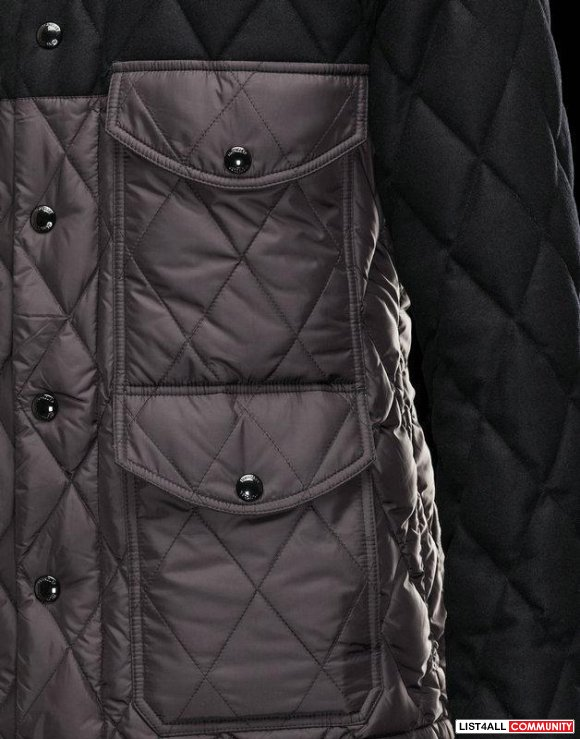 Moncler Hastiere Men Lozenge Quilted Wool Insert Nylong Jacket