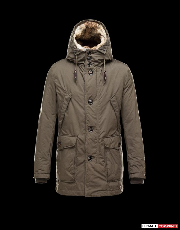 Moncler Chateaubriant Men Hood With Fur Edging & Interior Coat Kahki