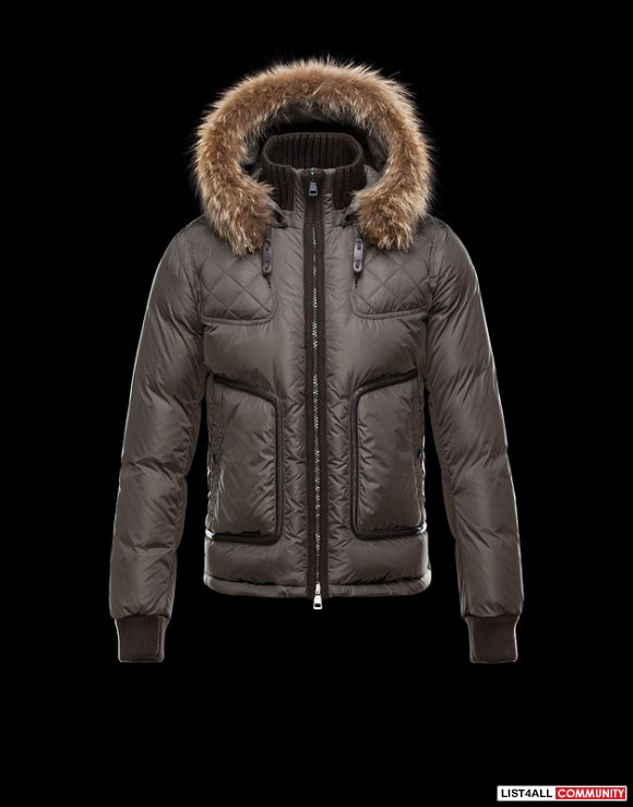 Moncler Montmiral Men Silky Smooth Ribbed Collar Wool Bomber Coat