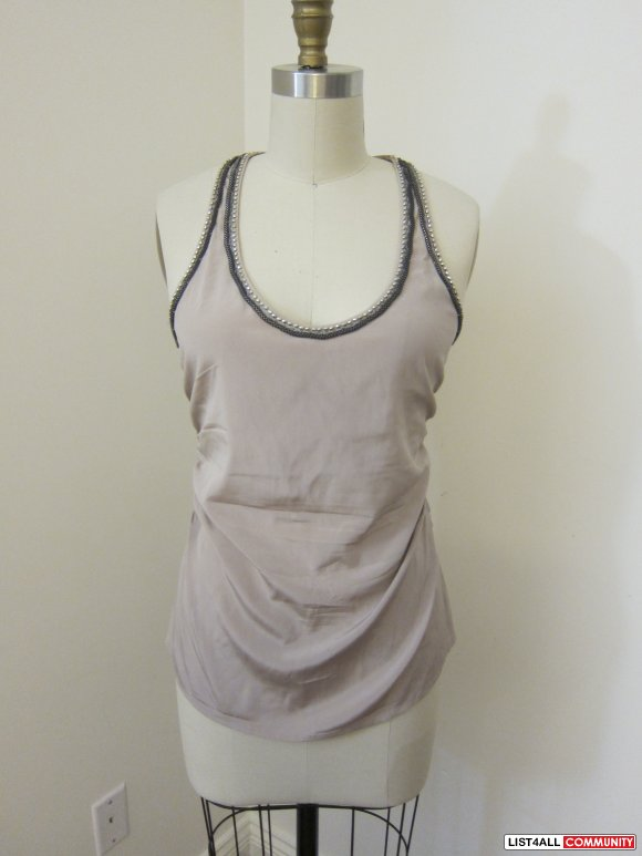 Bebe 92% silk Tank Top with Chain - S