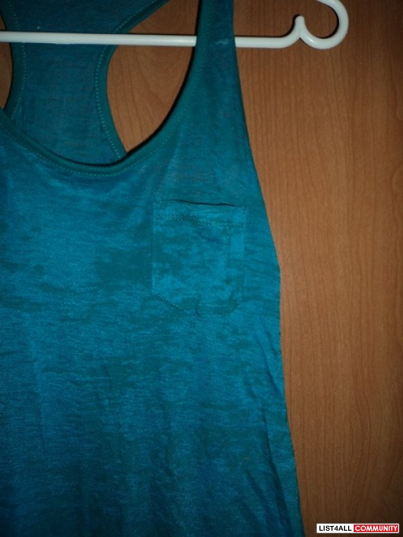 Blue see-through tank top with pocket S