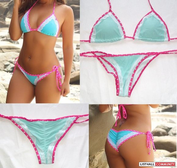 Brazilian String Bikini Push Up Padded Top Small
