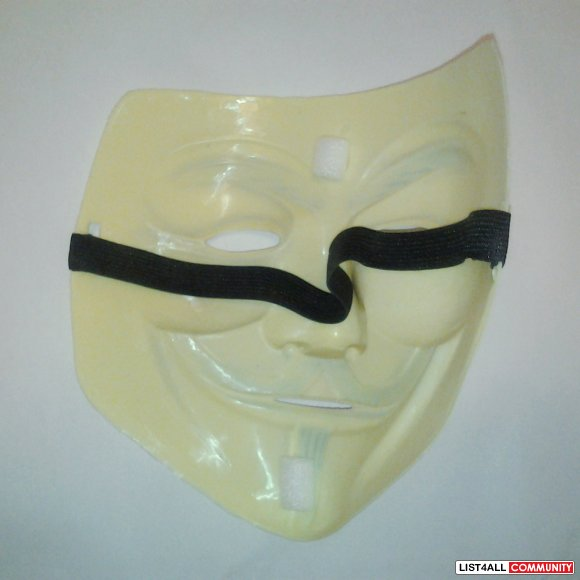 V for Vendetta Guy Fawkes Anonymous Plastic Mask Light Yellow