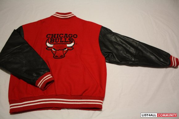 90's Chicago Bulls leather varsity jacket by Spalding --- $200firm