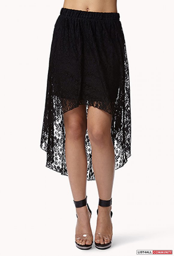 Forever 21 High Low Asymmetrical Lace Skirt