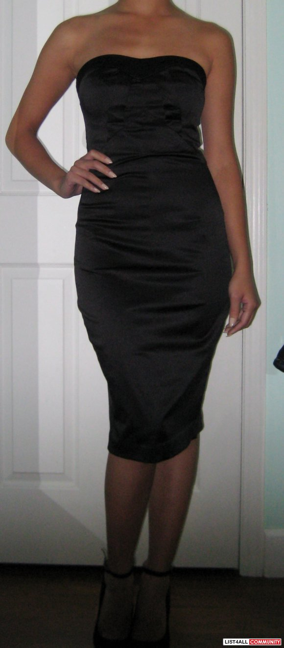 Costa Blanca Fitted Black Satin Dress Sz. Small
