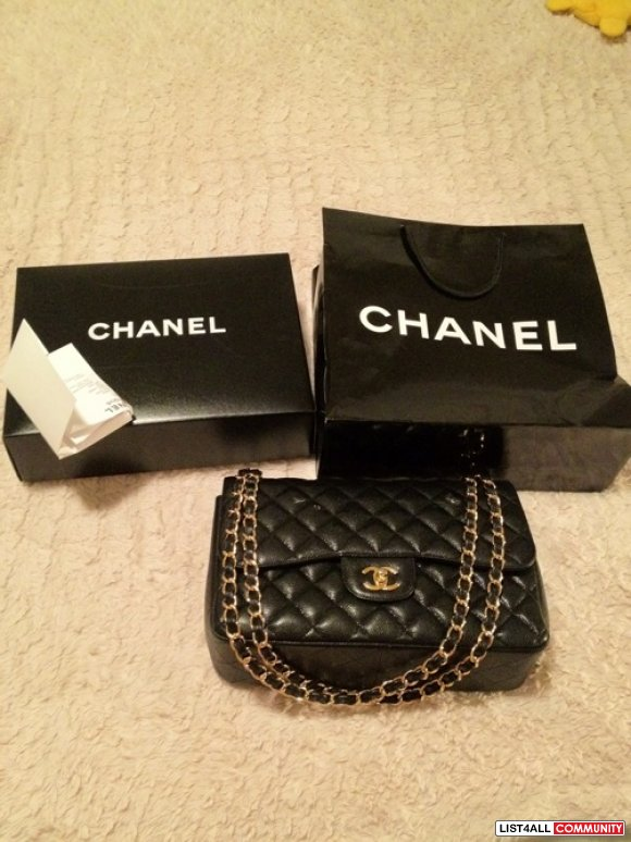 Authentic Chanel Black Cavier Jumbo with Gold Hardware