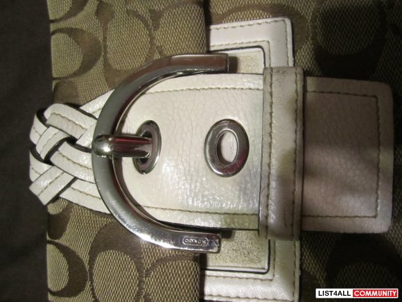 Authentic Coach Purse (signature and white leather print)