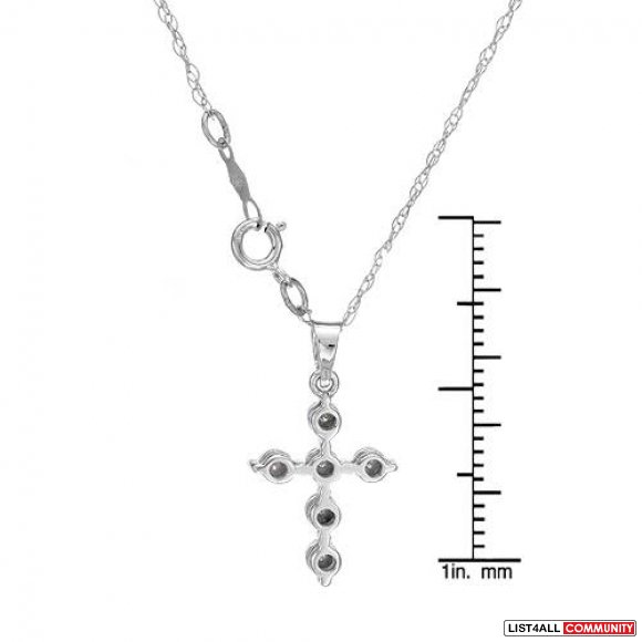 Cross Necklace With Genuine Diamonds Made in Solid White Gold