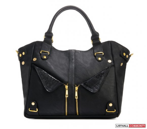 JUSTFAB Black Purse with Gold Hardware