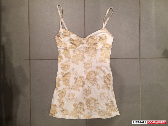 WILFRED BY ARITZIA Gold Floral Bustier Tank