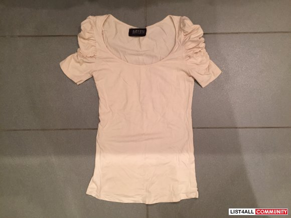 ZARA Beige Ruched Top