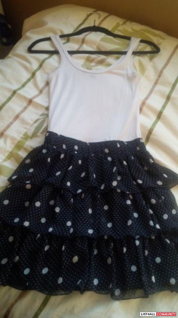 Polka dot navy and white dress