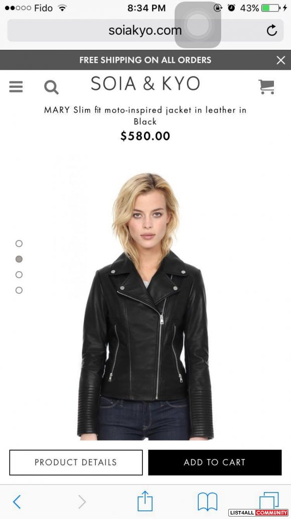 BNWT Soia & Kyo Leather Jacket