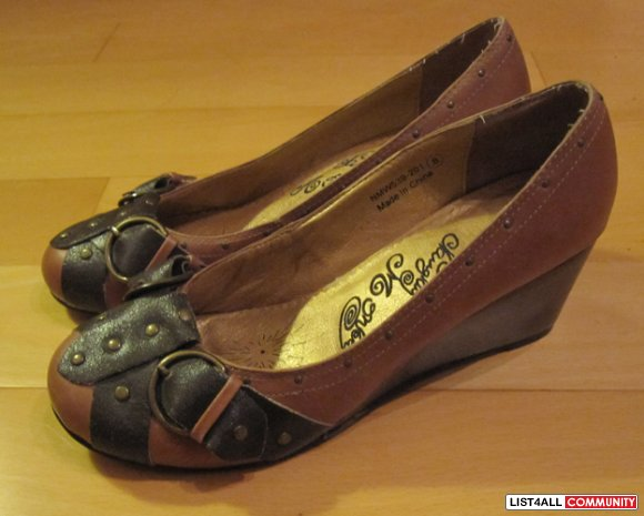 "Naughty Monkey ""Stamp"" Buckle Wedges (Size 8)"