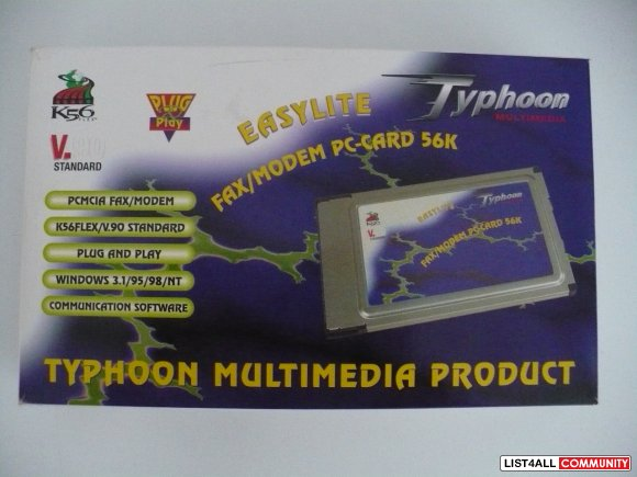 Typhoon Easylite PCMCIA Fax/Modem PC-Card 56K