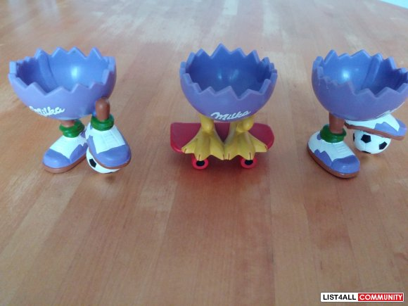 3 Milka Eierbecher / Eggholder / Egg Cups
